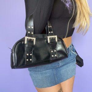 Y2K Rhinestone + Faux Leather Mini Bag